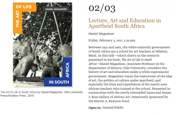 Art Calendar Yale : Lecture art and education in apartheid south africa