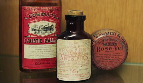 For many rural 19th century Americans, dose size was the only different between human and veterinary medicines, and as such include instructions for both human and animal use. (Photo credit: Kendall Teare)